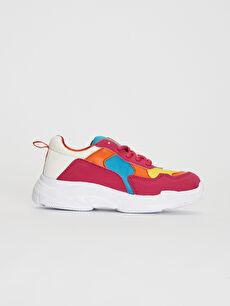 Kız Çocuk Kalın Taban Renk Bloklu Günlük Ayakkabı