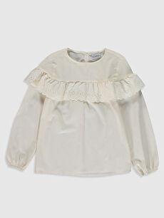Kız Çocuk Fırfır Detaylı Poplin Bluz
