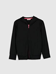 Kız Çocuk Fermuarlı Kapüşonlu Sweatshirt