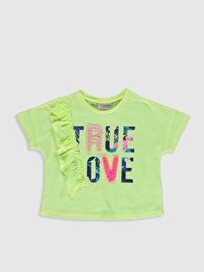 Kız Çocuk Baskılı Fırfırlı Tişört
