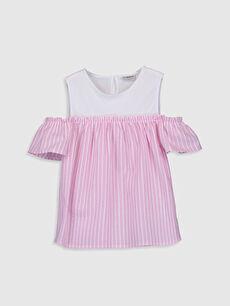 Pembe Kız Çocuk Omuzu Açık Poplin Bluz