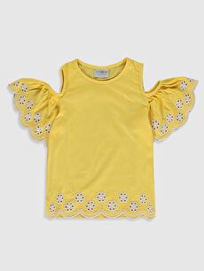 Kız Çocuk Omuzu Açık Pamuklu Tişört