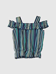 Yeşil Kız Çocuk Omuzu Açık Fırfırlı Bluz