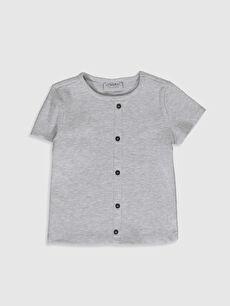 Kız Çocuk Düğme Detaylı Pamuklu Tişört