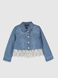 Kız Çocuk Dantel Detaylı Jean Ceket