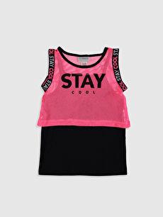 Pembe Kız Çocuk Atlet ve File Tişört