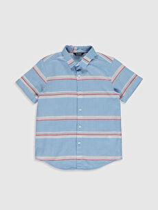 Mavi Erkek Çocuk Çizgili Poplin Gömlek