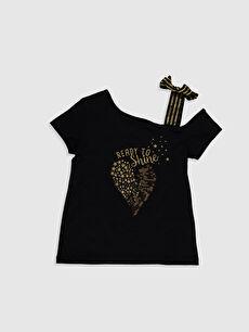 Kız Çocuk Baskılı Omuz Detaylı Tişört
