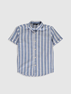 İndigo Erkek Çocuk Çizgili Poplin Gömlek