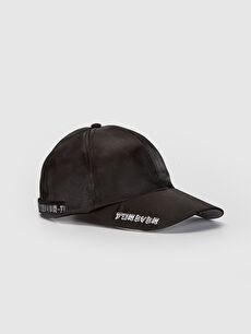 Yazı Detaylı Saten Şapka