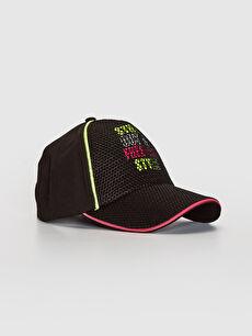 Kız Çocuk Yazı Baskılı File Detaylı Şapka