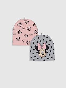 Kız Bebek Minnie Mouse Baskılı Bere 2'li