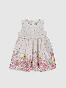Kız Bebek Baskılı Poplin Elbise