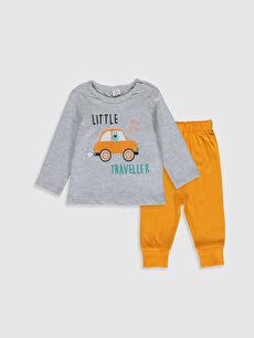 Bisiklet Yaka Uzun Kol Baskılı Erkek Bebek Pijama Takımı
