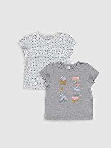 Gri Kız Bebek Desenli Tişört 2'li