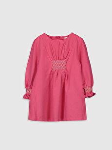 Kız Bebek Büzgülü Twill  Elbise