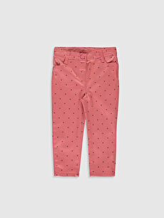 Kız Bebek Puantiye Baskılı Twill Pantolon