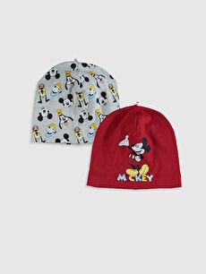 Erkek Bebek Mickey Mouse Baskılı Bere 2'li