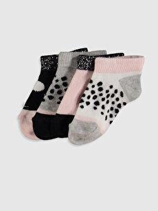 Kız Bebek Baskılı Patik Çorap 4'lü