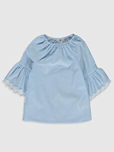 Kız Bebek Çizgili Poplin Bluz