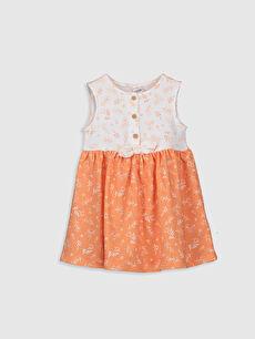 Bej Kız Bebek Desenli Elbise
