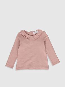 Kız Bebek Yakası Fırfırlı Sweatshirt