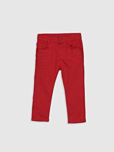 Kırmızı Erkek Bebek Skınny Gabardin Pantolon