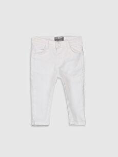Beyaz Erkek Bebek Skınny Gabardin Pantolon