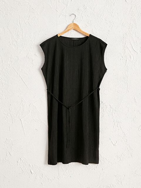 Dokulu Kumaştan Beli Bağlama Detaylı Elbise - LC WAIKIKI
