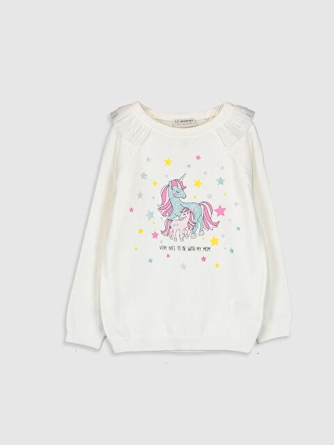Kız Çocuk Unicorn Baskılı Triko Kazak - LC WAIKIKI