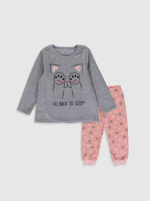 Kız Çocuk Baskılı Polar Pijama Takımı - LC WAIKIKI