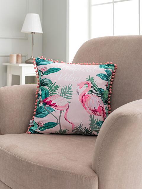 Flamingo Baskılı Ponponlu Kırlent Kılıfı - LCW HOME