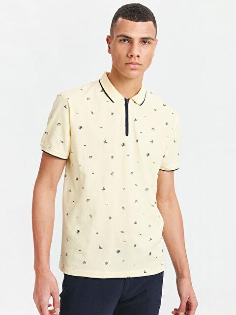 Baskılı Polo Yaka Kısa Kollu Pike Tişört - LC WAIKIKI