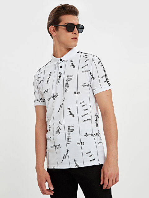 Polo Yaka Baskılı Kısa Kollu Pike Tişört - LC WAIKIKI