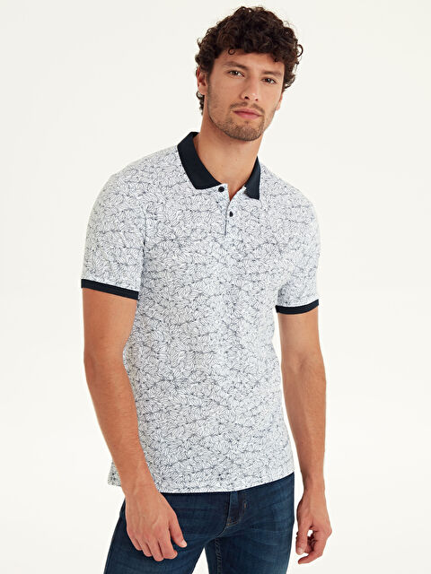 Slim Fit Polo Yaka Baskılı Pike Tişört - LC WAIKIKI