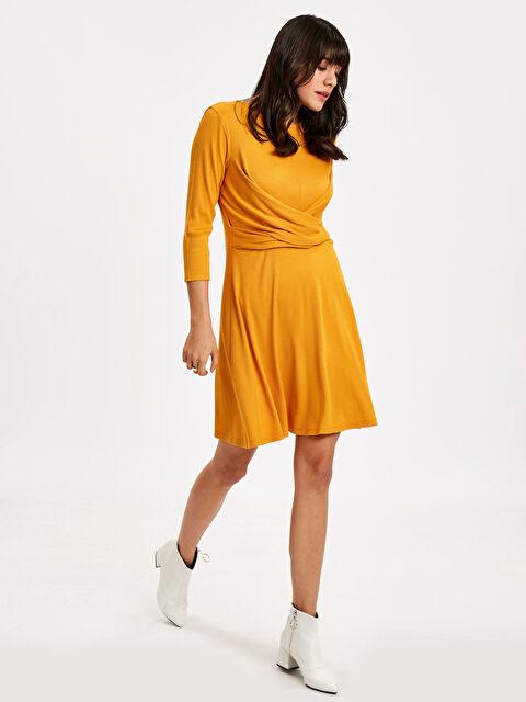 Kruvaze Bel Detaylı Kloş Elbise - LC WAIKIKI