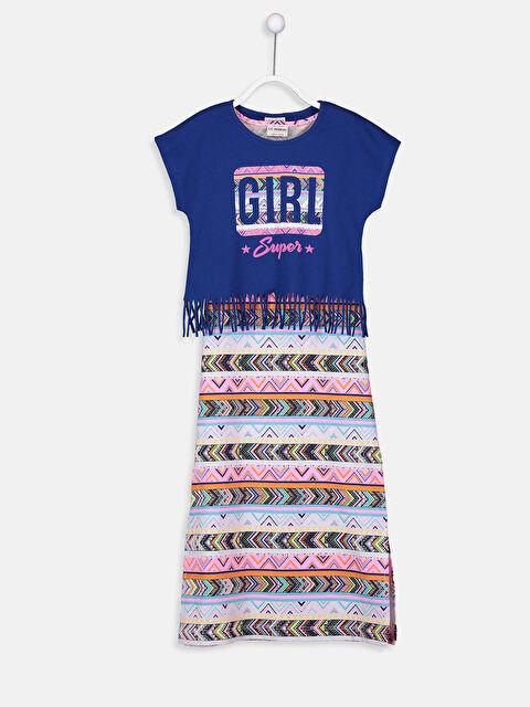 Kız Çocuk Desenli Uzun Elbise ve Tişört - LC WAIKIKI