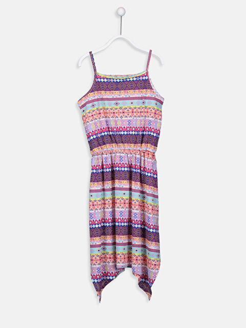 Kız Çocuk Desenli Asimetrik Elbise - LC WAIKIKI