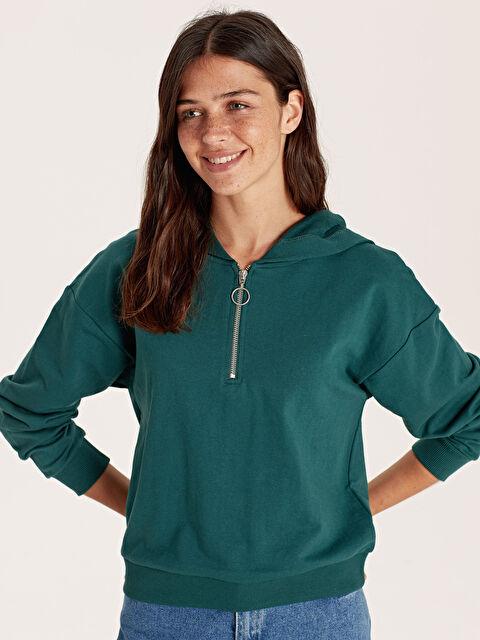 Kapüşonlu Yakası Fermuarlı Sweatshirt - LC WAIKIKI
