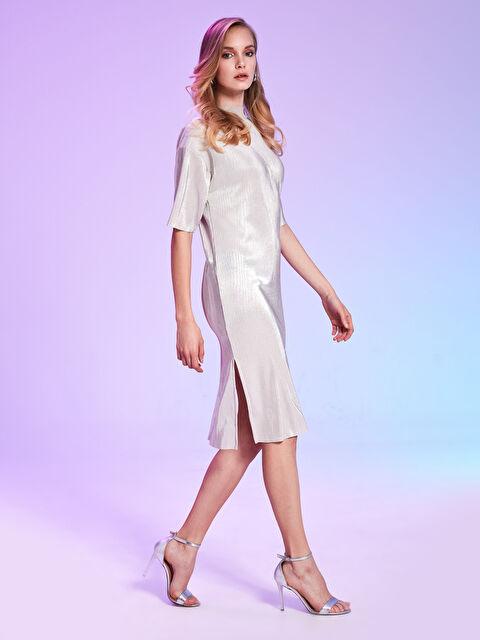 Rubyred Yarım Balıkçı Yaka Işıltılı Elbise - Markalar