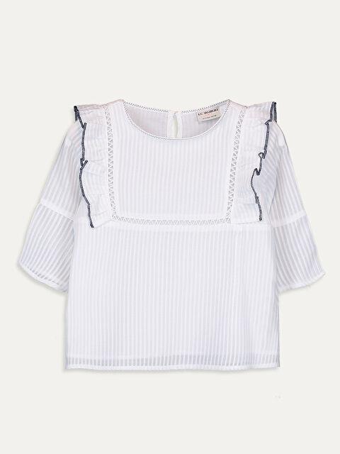 Kız Çocuk Fırfırlı Pamuklu Bluz - LC WAIKIKI