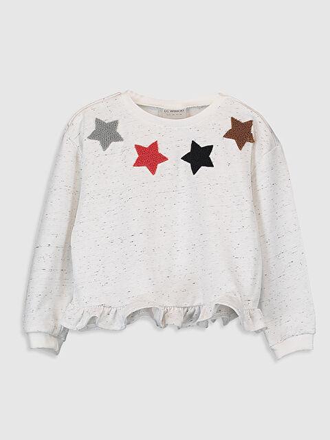 Kız Çocuk Nakışlı Fırfırlı Sweatshirt - LC WAIKIKI