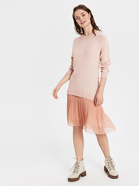 Tül Detaylı Triko Elbise - LC WAIKIKI
