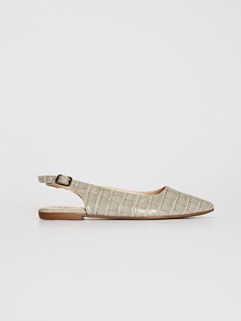 Kadın Kroko Desenli Sivri Burun Babet Ayakkabı - LC WAIKIKI