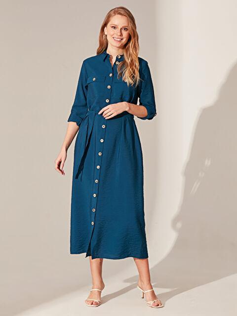 Dokulu Kumaştan Kuşaklı Gömlek Elbise - LC WAIKIKI