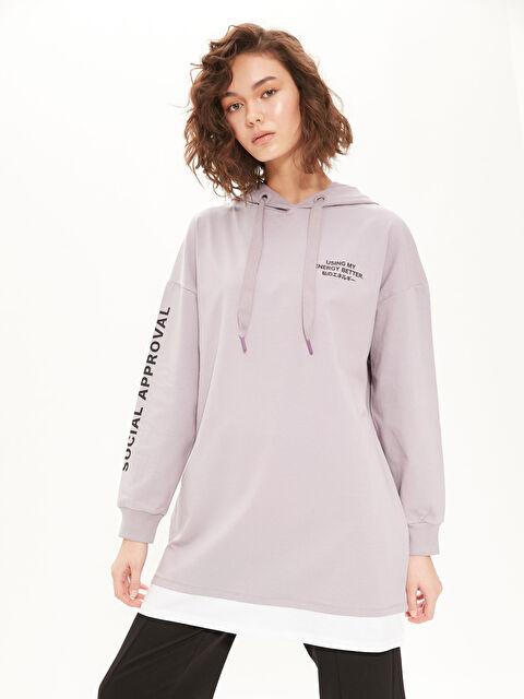 Slogan Baskılı Kapüşonlu Sweatshirt - LC WAIKIKI