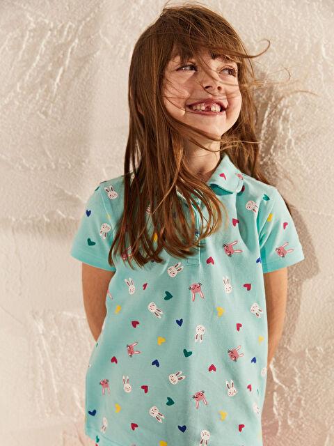 Kız Çocuk Baskılı Pamuklu Polo Yaka Tişört - LC WAIKIKI