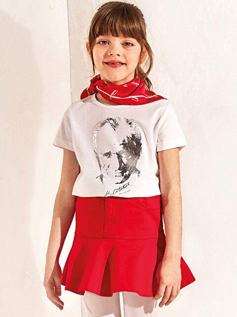 Kız Çocuk Atatürk Baskılı Tişört - LC WAIKIKI
