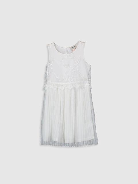 Kız Çocuk Dantelli Pileli Elbise - LC WAIKIKI