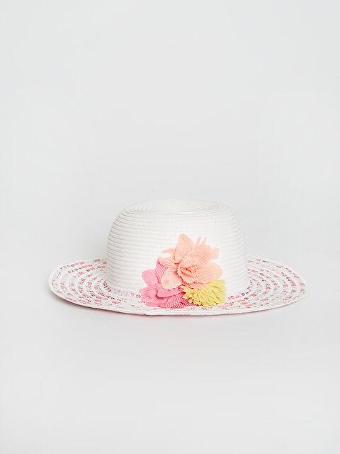 Kız Çocuk Çiçek Detaylı Fötr Şapka - LC WAIKIKI